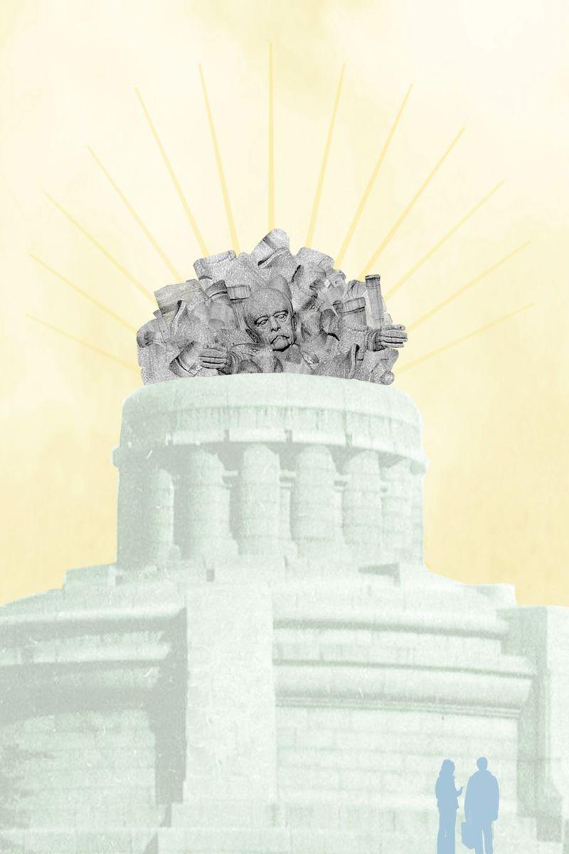 Colagem Bismarck, julho de 2020. A desconstrução como proposta de intervenção: o Monumento a Bismarck como um amontoado de escombros. Colagem: © afrika-hamburg.de