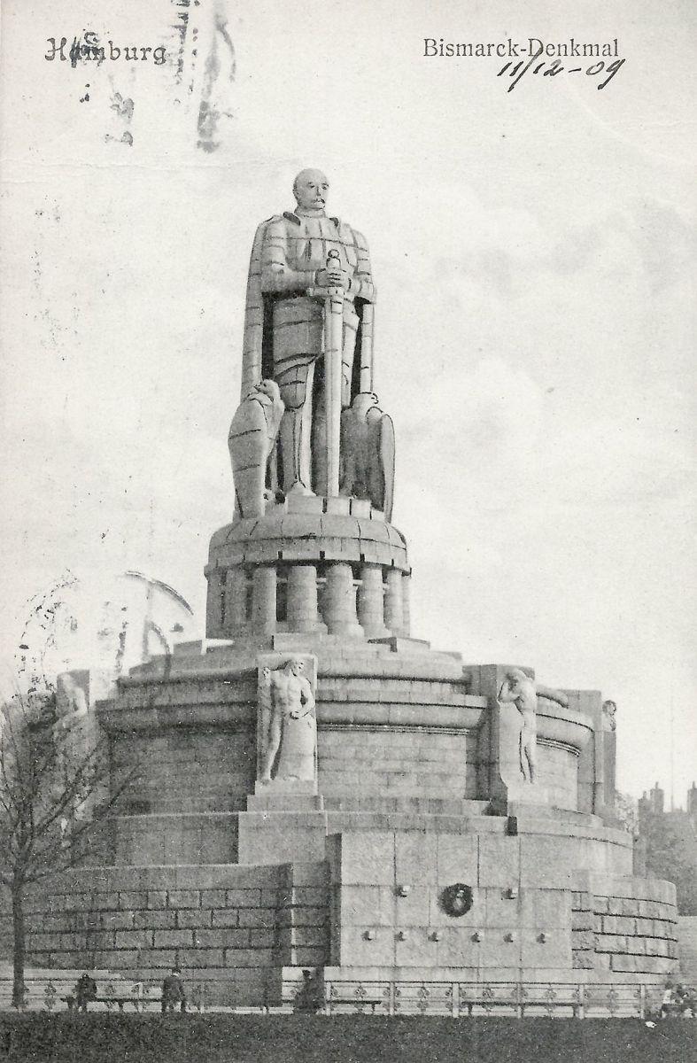 Monumento a Bismarck, 1909. Este postal com o Monumento a Bismarck em Hamburgo foi enviado em 1909. Direitos da imagem: Domínio público